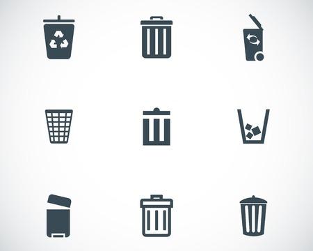 recycle bin: Vector negro bote de basura iconos conjunto sobre fondo blanco