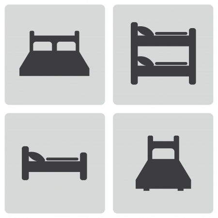 hostel: Vector black bed icons set on white background