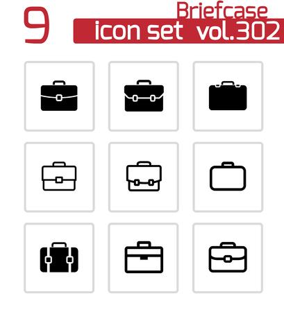 brief case: Vector black briefcase icons set on white background Illustration