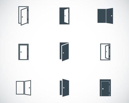 白い背景の上ベクトル黒いドアのアイコンを設定します。