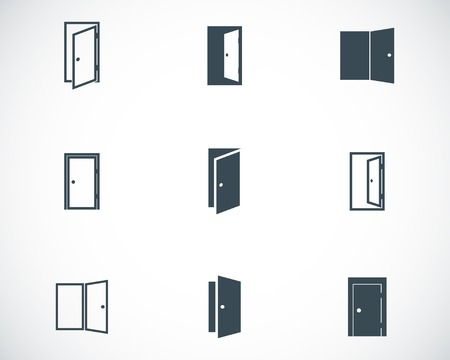 Vector black door icons set on white background Иллюстрация
