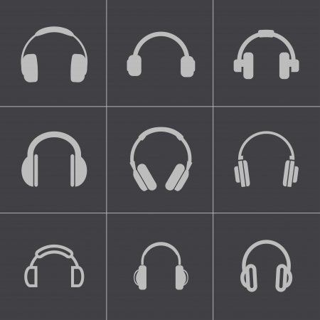 earphones: Vector black headphone icons set on gray background Illustration