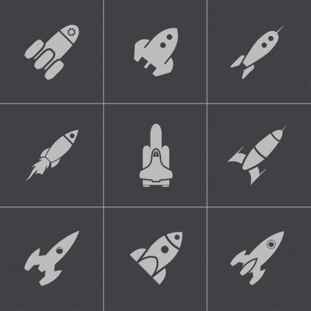 rocketship: Vector black rocket icons set on gray background