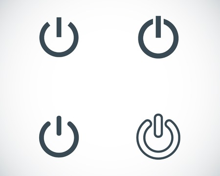 Vector black shut down icons set on white background