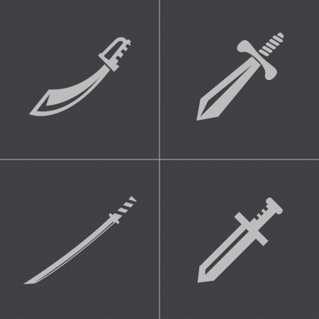medieval sword: Vector black sword icons set on gray background