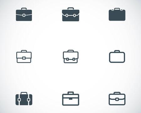 portfolio: Vector black briefcase icons set on white background Illustration
