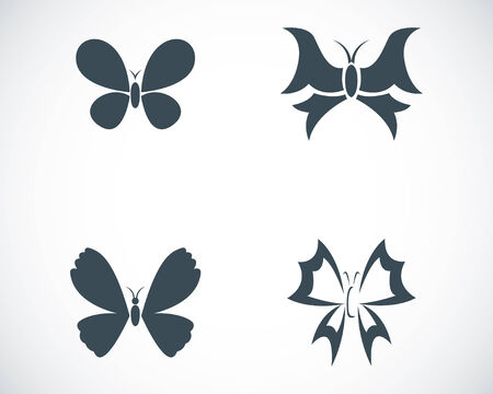 buttefly: Vector black buttefly icons set on white background Illustration