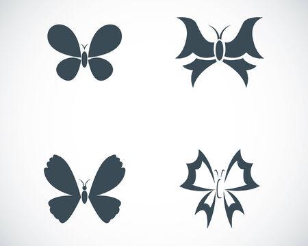 Vector black buttefly icons set on white background Illustration