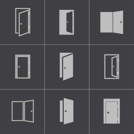 Vector black door icons set on gray background