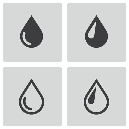 oil drop: Vector black drop icons set on white background