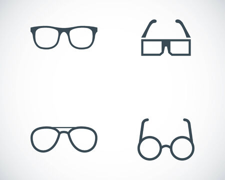 eye wear: Vector black glasses icons set on white background Illustration