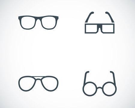 Vector zwarte bril pictogrammen instellen op een witte achtergrond Stock Illustratie
