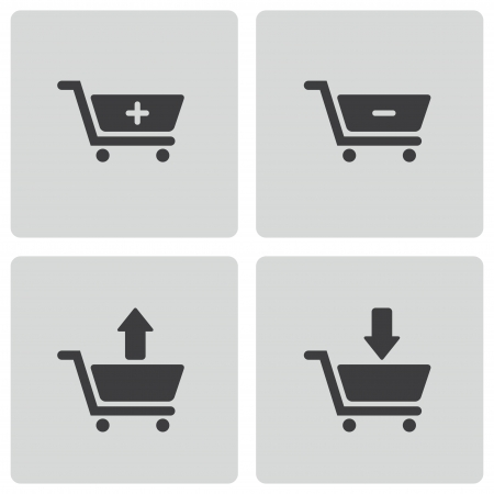 Vector black shopping cart icons set on white background Vector