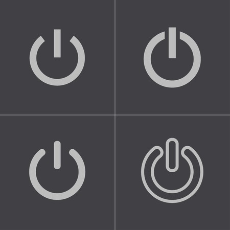 Vector black shut down icons set on gray background Vector