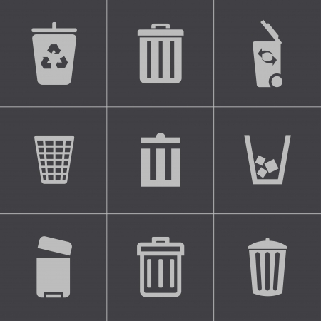 Vector black trash can icons set on gray background Vector