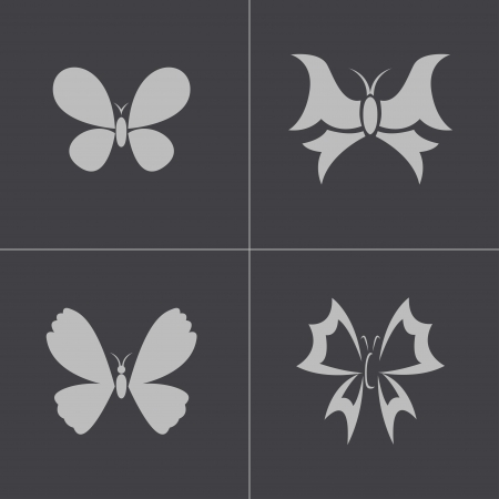 Vector black buttefly icons set on gray background