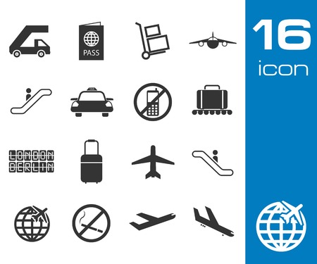 airport lounge: Vector black airport icons set on white background