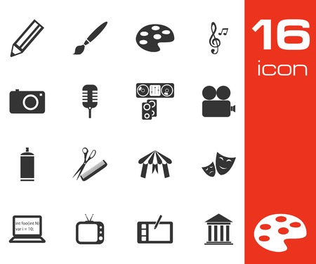 calling art: Vector black art icons set on white background Illustration