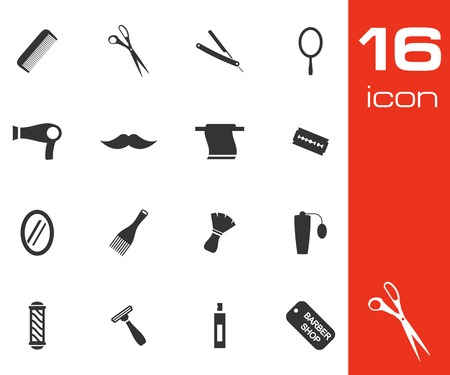 Vector black barber icon set on white background Stock Vector - 25364957