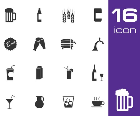 Vector black beer and  beverage icons set on white background Vector