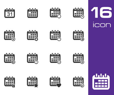 Vector black Calendar Icons on white background Vector