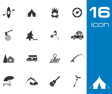 Vector black camping icons set on white background Vector