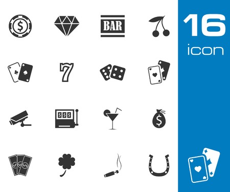 hotel casino: Vector black casino icons set on white background
