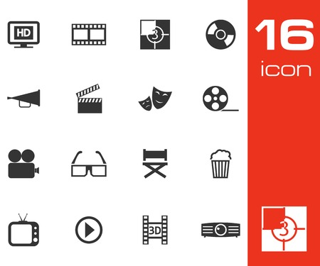 Vector black cinema icon set on white background Vector