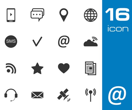 Vector black Communication icons set on white background Vector