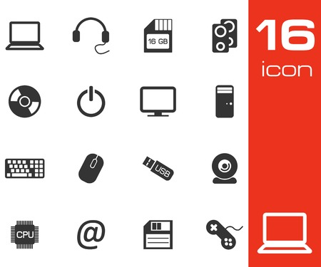 desktop printer: Vector black Computer icons set on white background