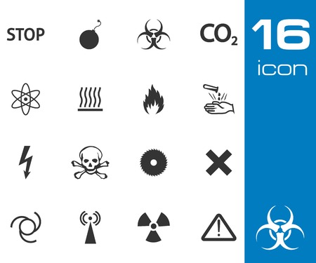 chemical weapon sign: vector black danger icons set on white background