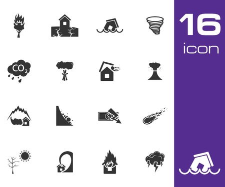 Vector black  disaster icons set on white background Vector
