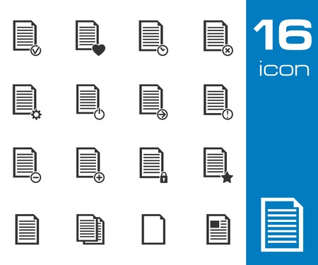 archive site: Vector black  document icons set on white background