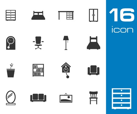 Vector black  furniture icons set on white background Vector