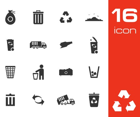 waste products: Vector black garbage icons set on white background