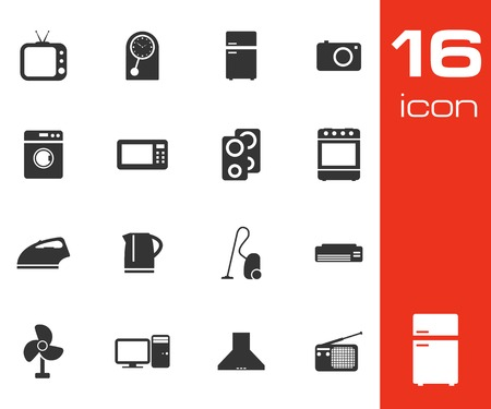 Vector black home appliances icon set on white background Vector