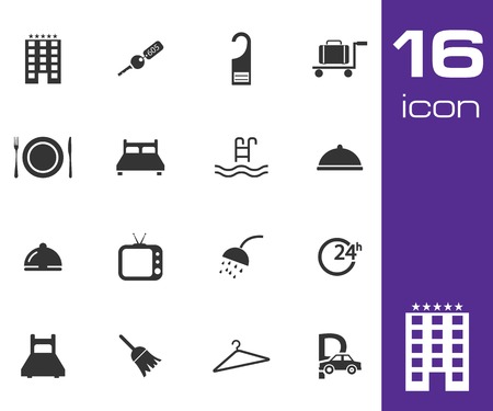 Vector black hotel icon set on white background Vector