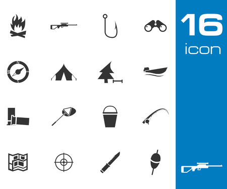 Vector Black  Hunting Icons Set on white background Vector