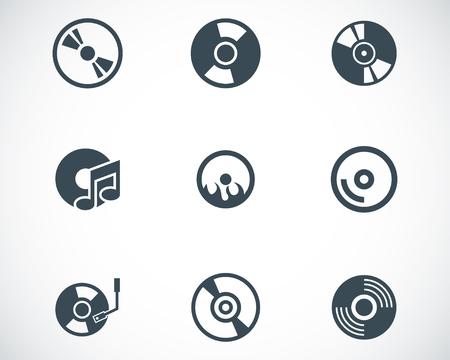 Vector black CD disk icons set on white  Illustration
