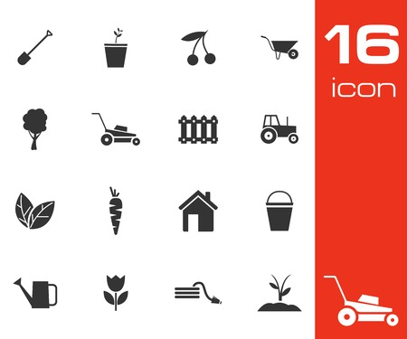 Vector black gardening icons set on white  Vector