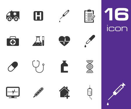 Vector black medical icon set on white  Stock Vector - 25515153