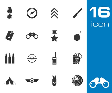 military and war icons: Vector black military icons set on white
