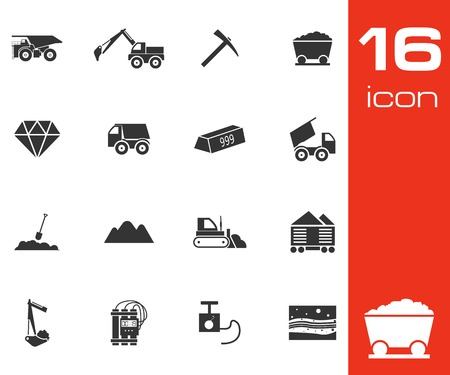 Vector black mining icons set on white  Vector