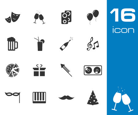 Vector black party icons set on white background Vector