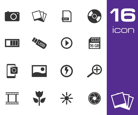 photo equipment: Vector black photo icon set on white background