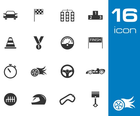 fast track: Vector black racing icons set on white background