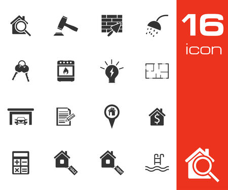 Vector black real estate icons set on white background Vector