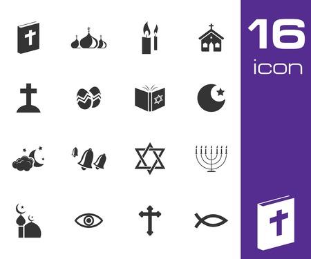 prayer candles: Vector black religion icons set on white background