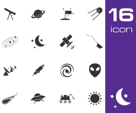 Vector black space icons set on white background Stock Vector - 25515372