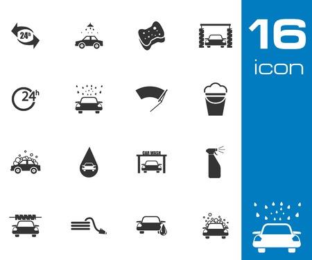 autolavaggio: Icone di lavaggio vettore nero auto impostati su sfondo grigio